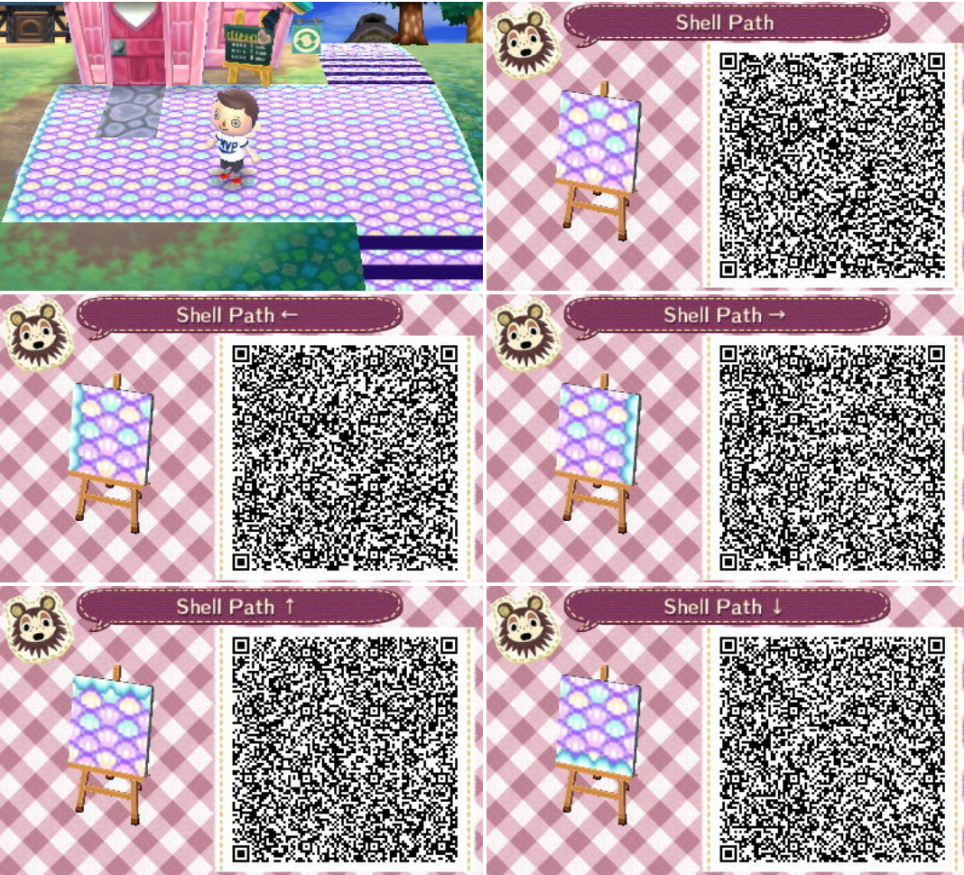 Animal Crossing New Leaf Shell Path Qr Code Animal Crossing Qr Codes Animal Crossing Animal Crossing Qr