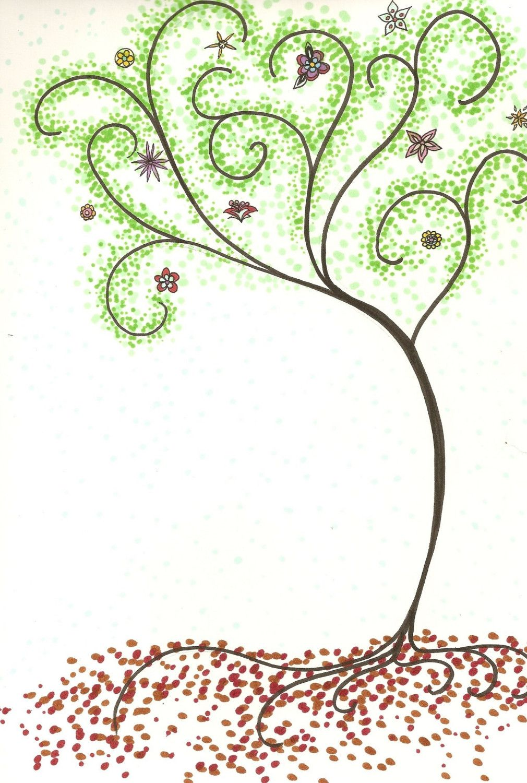 Dot Art Spring Tree Original 9x12 Drawing Sharpie