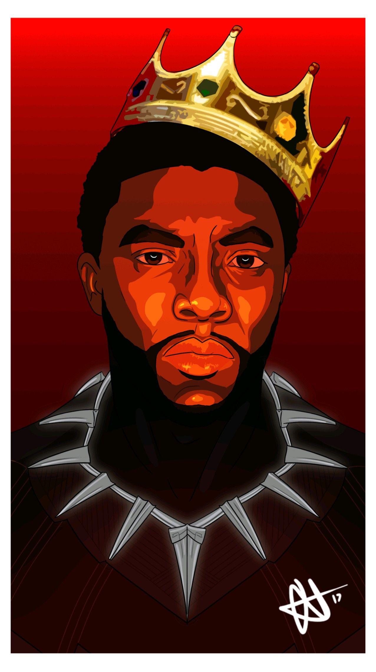 Crowned Mcu Black Panther Art Biggie Style Black Panther Art Panther Art Black Artwork