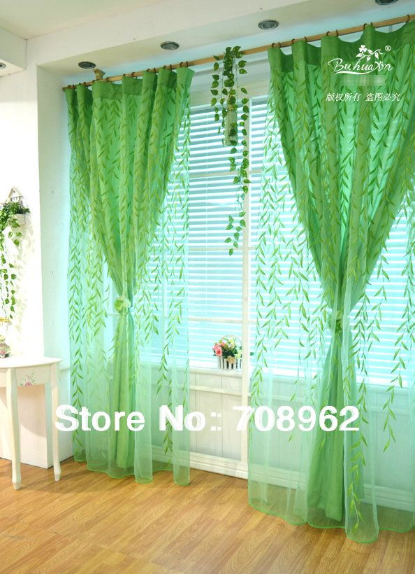 Curtain set/ 2014 Sping Willow design curtains Double layer ...