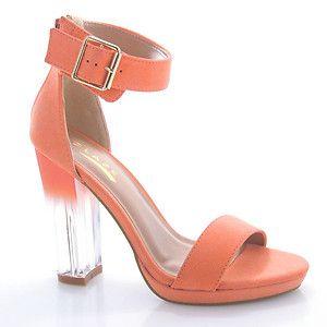 SOLAR1 Peach Green Clear Chunky Transparent High Heel Dress Sandal Ankle Women