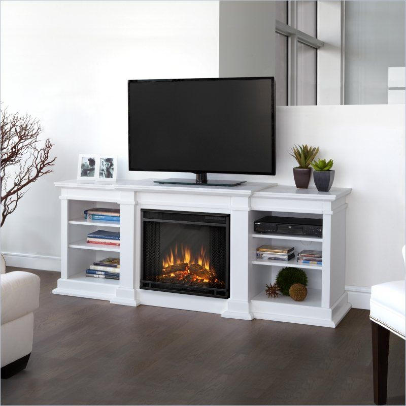 Real Flame Fresno Electric Fireplace TV Stand in White Electric