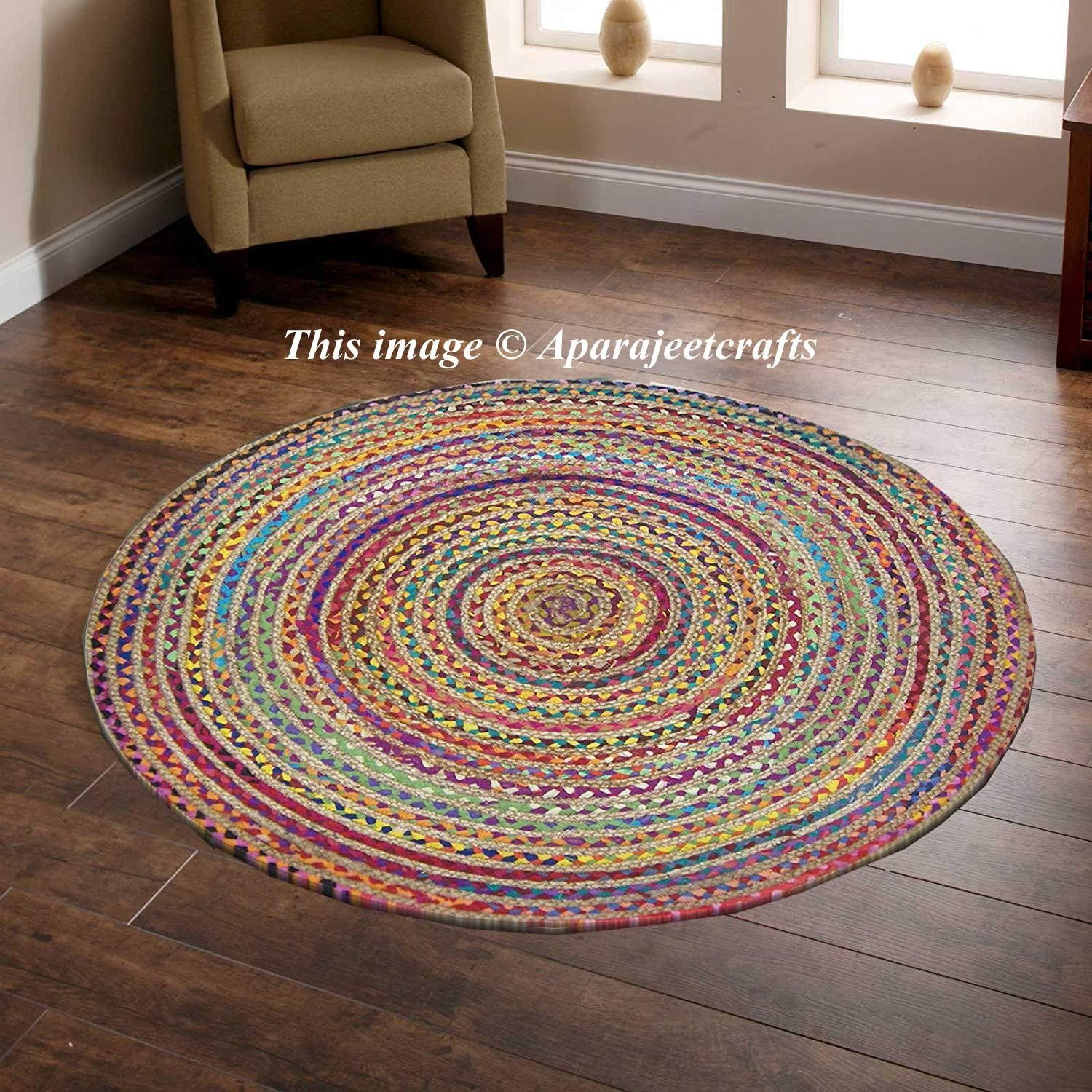 Indian Handmade Hand Braided Bohemian Cotton And Jute Area Rug Round Rug Multi Colors Home Decor Round Rugs Size 5x5 Feet Round Mat Rug Rags Round Rugs Mandala Rug Circle Rug