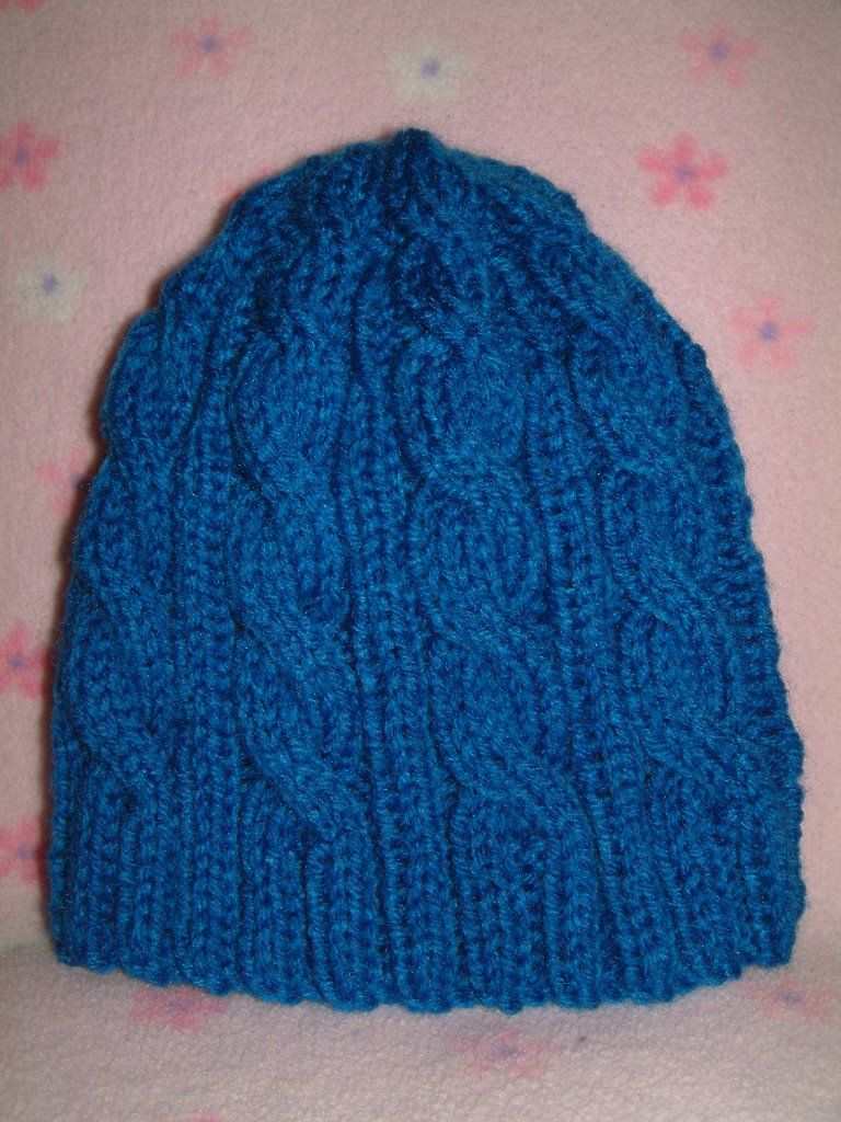 Chemo Hat #8 Completed - 3AM Blue Cable Hat ~ smariek knits | DIY ...