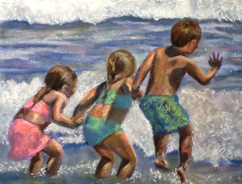 "This painting inspired me because I remember the wonderful times we have had at the beach as a family.    This original print is 12"" x 9"" and signed by the artist, Sola Prince  $25.00"