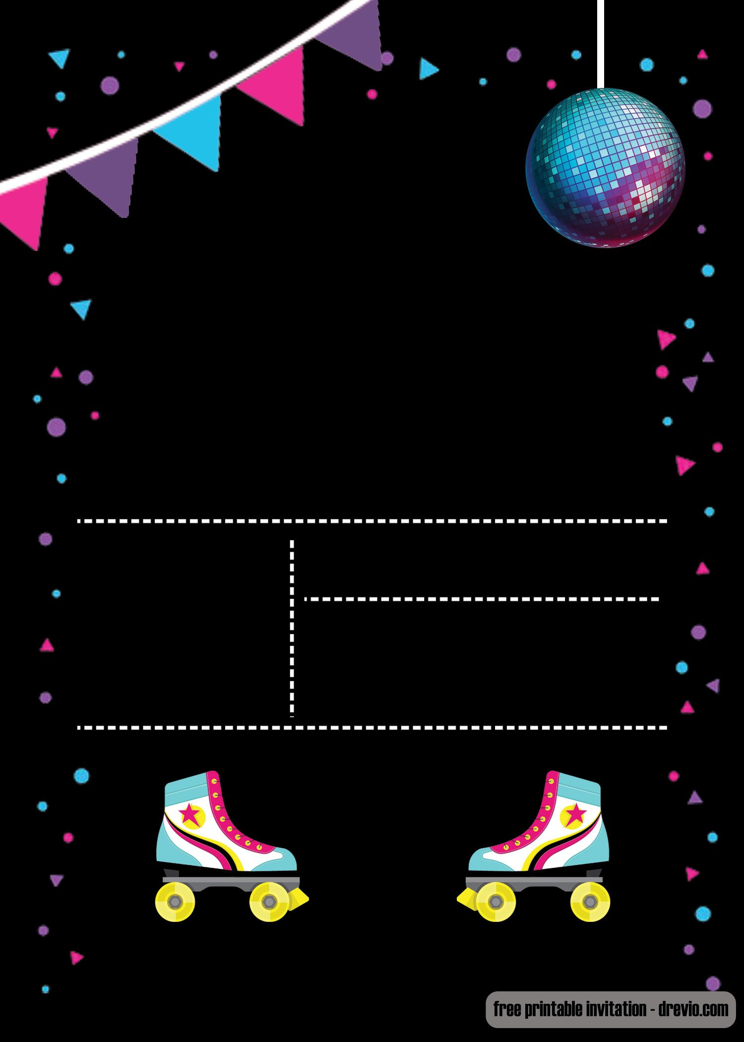graphic relating to Free Printable Roller Skate Template known as Absolutely free Printable Roller Skating Invitation invitations