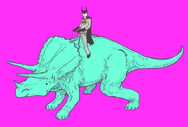 dinosaur batman returns Art Print