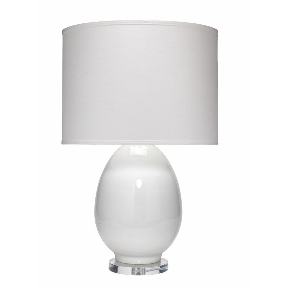 Jamie Young 1egg Tlwh Egg Table Lamp Large In White Glass With Large Drum Shade In White Linen Large Table Lamps Lamp Table Lamp
