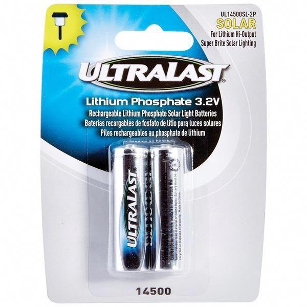 Ultralast R Ul14500sl 2p 14500 Lithium Batteries For Solar Lighting 2 Pk Solar Lights Rechargeable Batteries