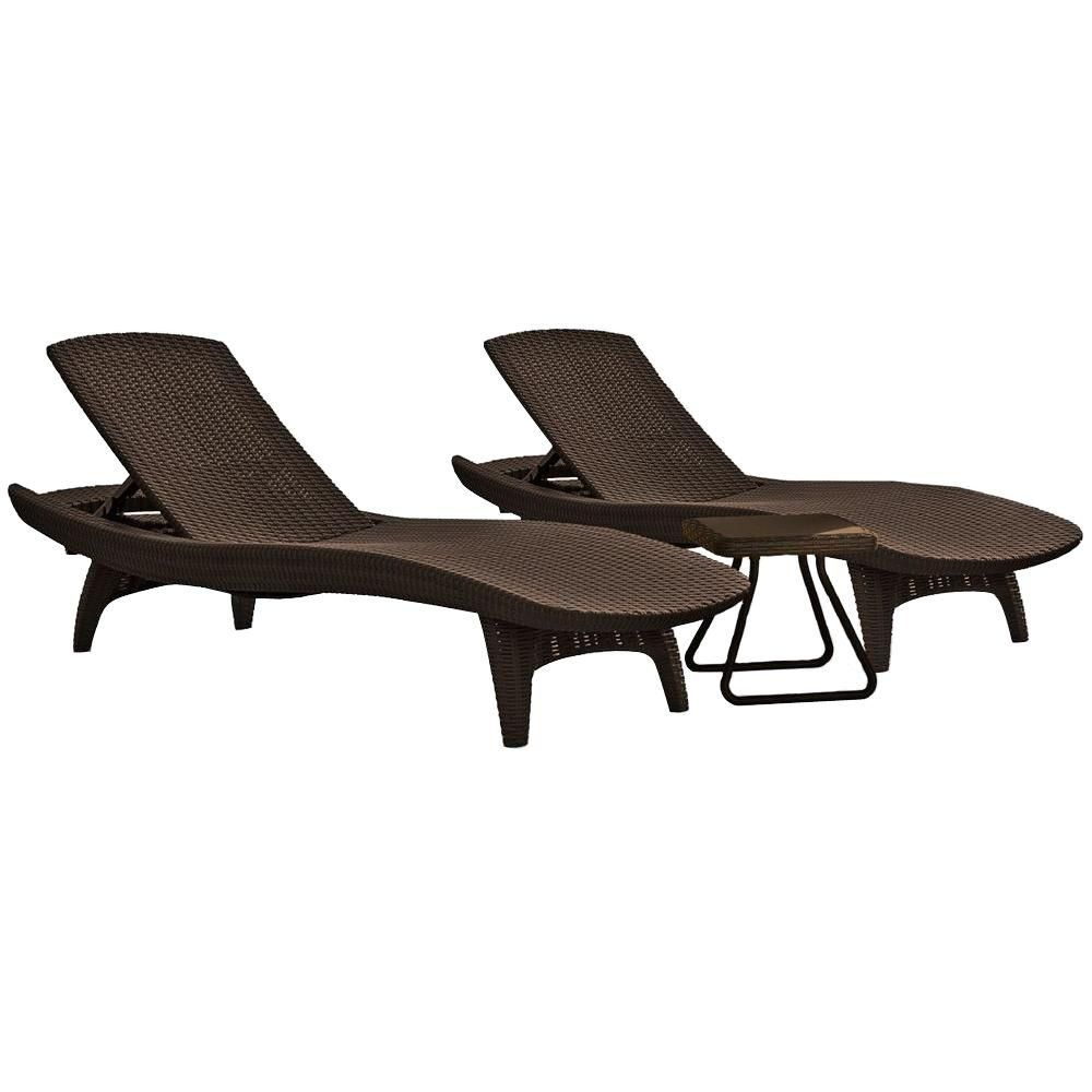 Keter Pacific Whiskey Brown All-Weather Adjustable Resin Patio Chaise Lounger with Side Table (3-Set)  sc 1 st  Pinterest : resin lounge chaise - Sectionals, Sofas & Couches