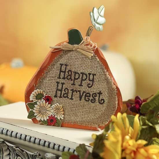 "Wooden ""Happy Harvest"" Pumpkin Decoration"