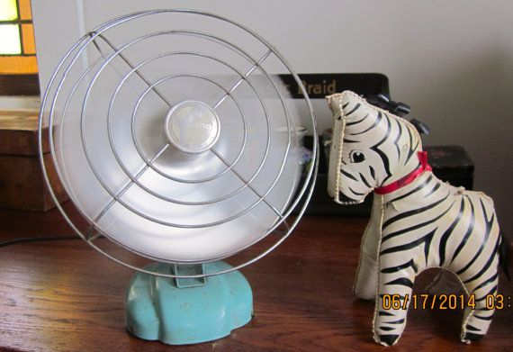 Working GE Turquoise 1940's Table Top Fan by angelinabella on Etsy, $45.00