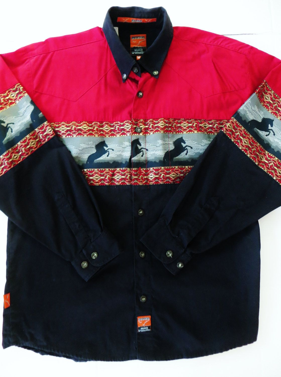 Vintage Womens Western Embroidered Blue Rose Floral Panhandle Slim  Shirt Blouse size large short sleeve  80/'s Rodeo Pearl Snaps