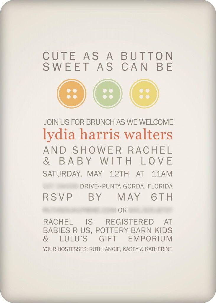 Baby Shower Fun · Cute As A Button Invitation