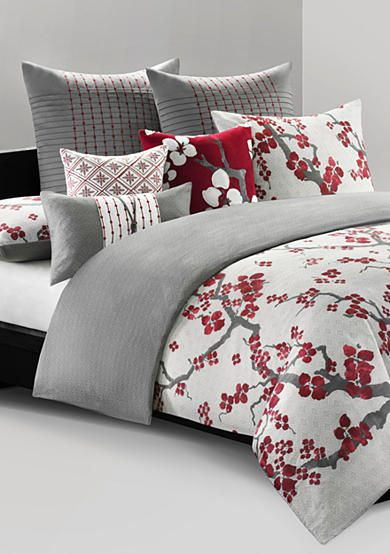 N Natori Cherry Blossom Bedding Collection Bedding Sets Grey