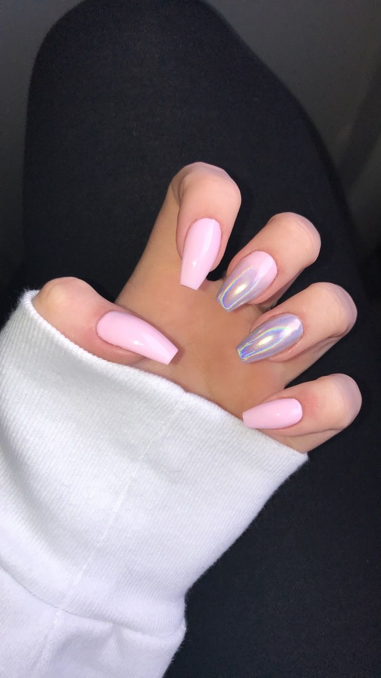 Baby Pink Acrylic Coffin Nails With Chrome Acrylic Nails Coffin Pink Pink Acrylic Nails Baby Pink Nails