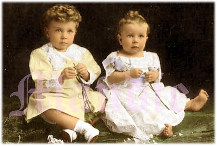Prince Gustaf Adolf (left) and Prince Sigvard of Sweden, the 2 eldest children of Crown Prince Gustaf Adolf and Crown Princess Margaret (nee Princess Margaret of Connaught).  Beautifully colorized photo.
