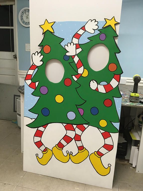 Winter Wonderland Photo Booth Prop Christmas Tree Duo Face In Hole