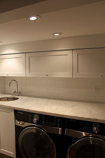 IKEA Laundry Room W/ Bianco Carrara Marble And White Subway Tile (geez, I  USED To Like My Laundry Room, Until I See These ...)