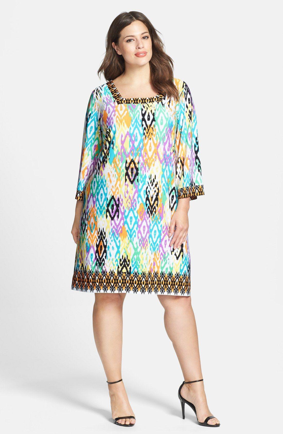 London Times Placed Print Matte Jersey Shift Dress (Plus Size ...