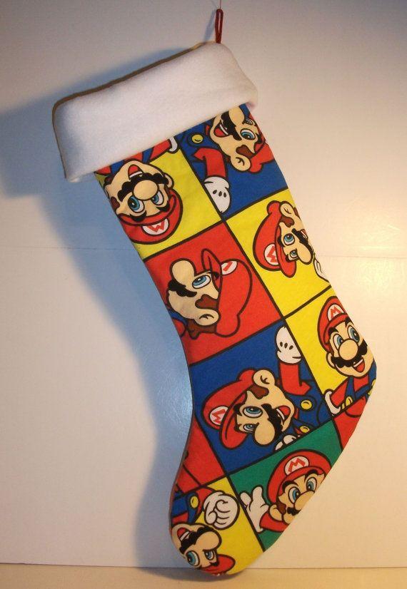 Super Mario Christmas Stocking.Super Mario Bros Christmas Stocking Handmade Ooak