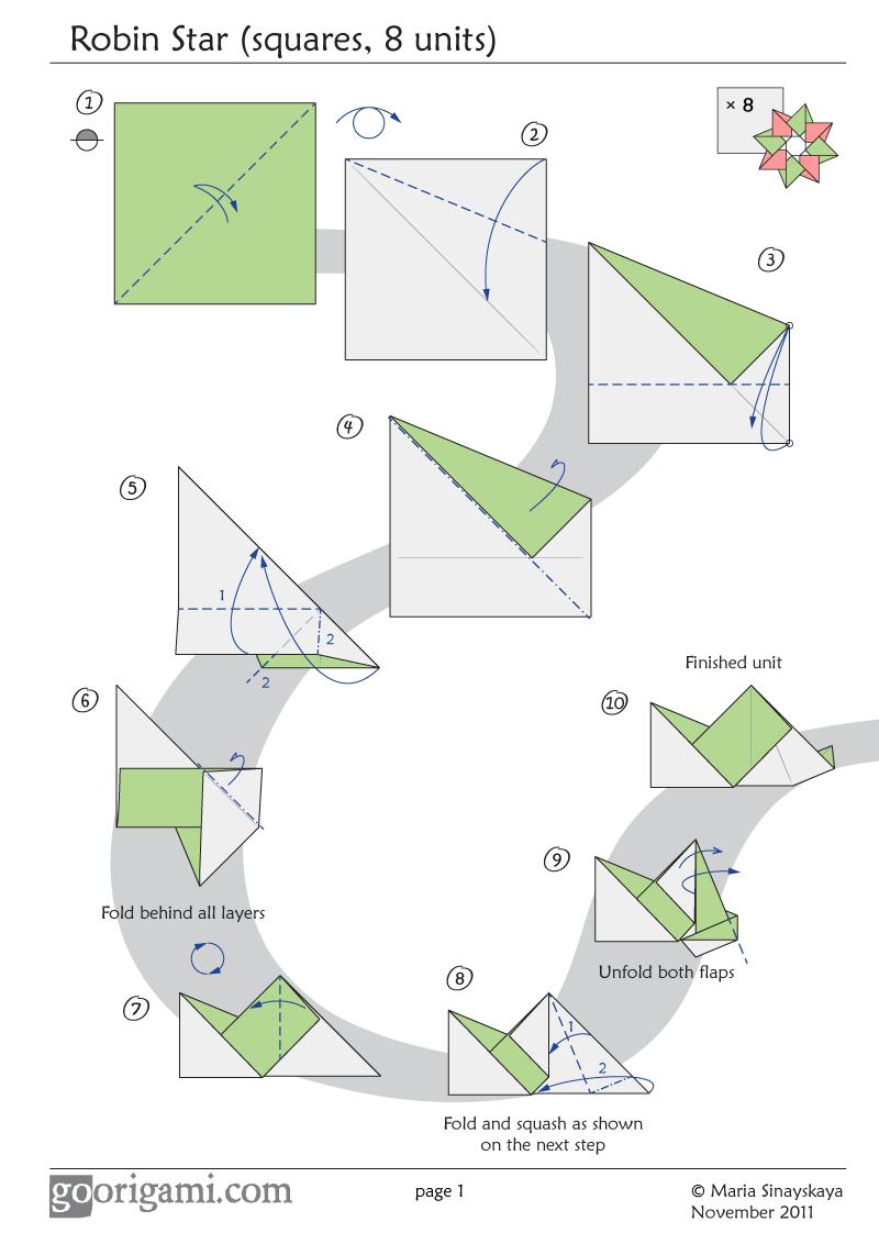 Robin Star by Maria Sinayskaya - Diagram | Go Origami ... on