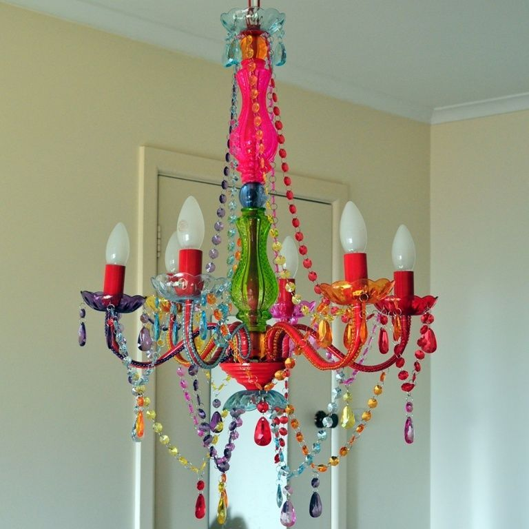 LARGE COLORED Crystal CHANDELIER LIGHT 6 ARM GYPSY BOHO CRYSTALS – Colored Chandelier
