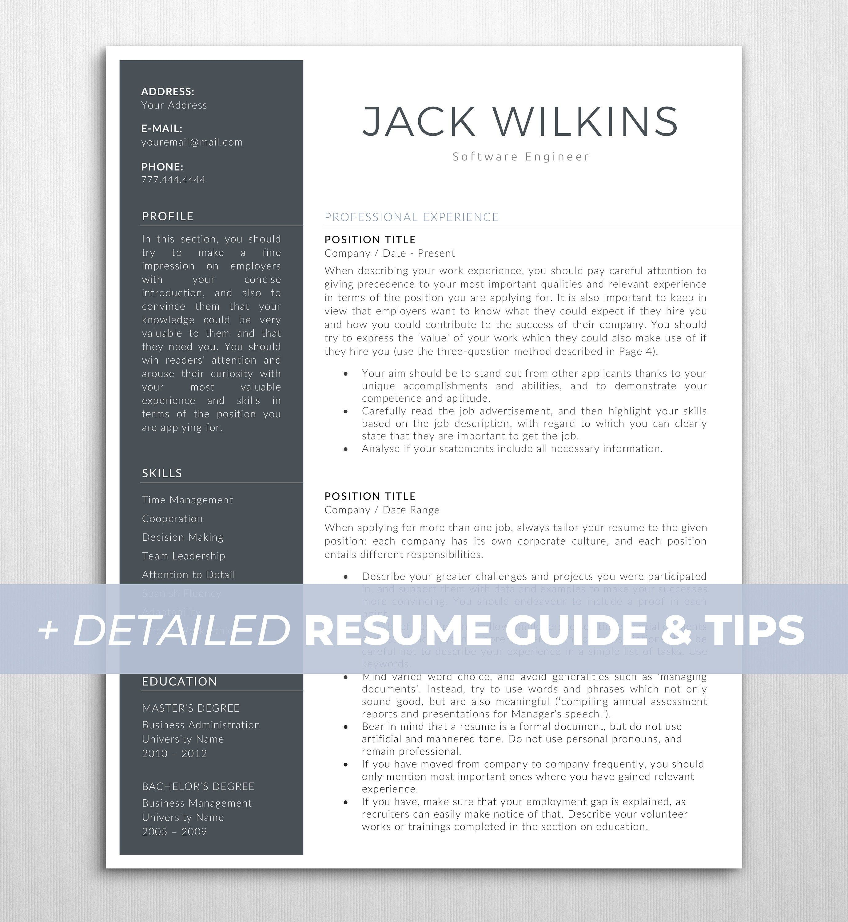 Modern Cv Template For Word Executive Resume Template Professional Resume Design Instant Download Free Resume Writing Guide 3 Page Cv Resume Design Professional Executive Resume Template Cv Template