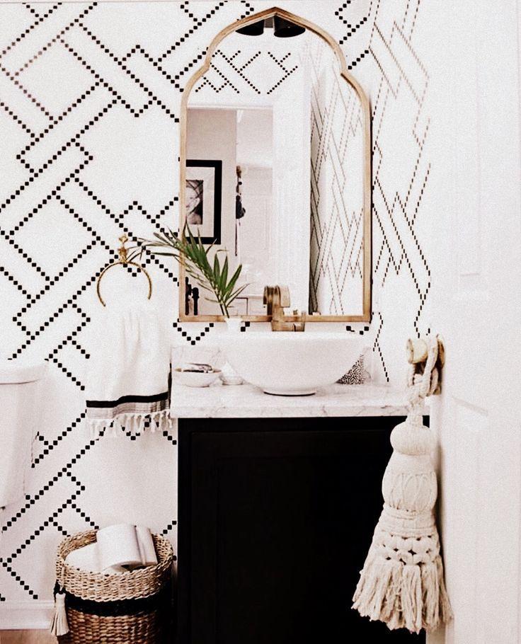 Best Powder Room Wallpaper Geometric Print Pattern Black And White Bathroom Marble Counter 400 x 300