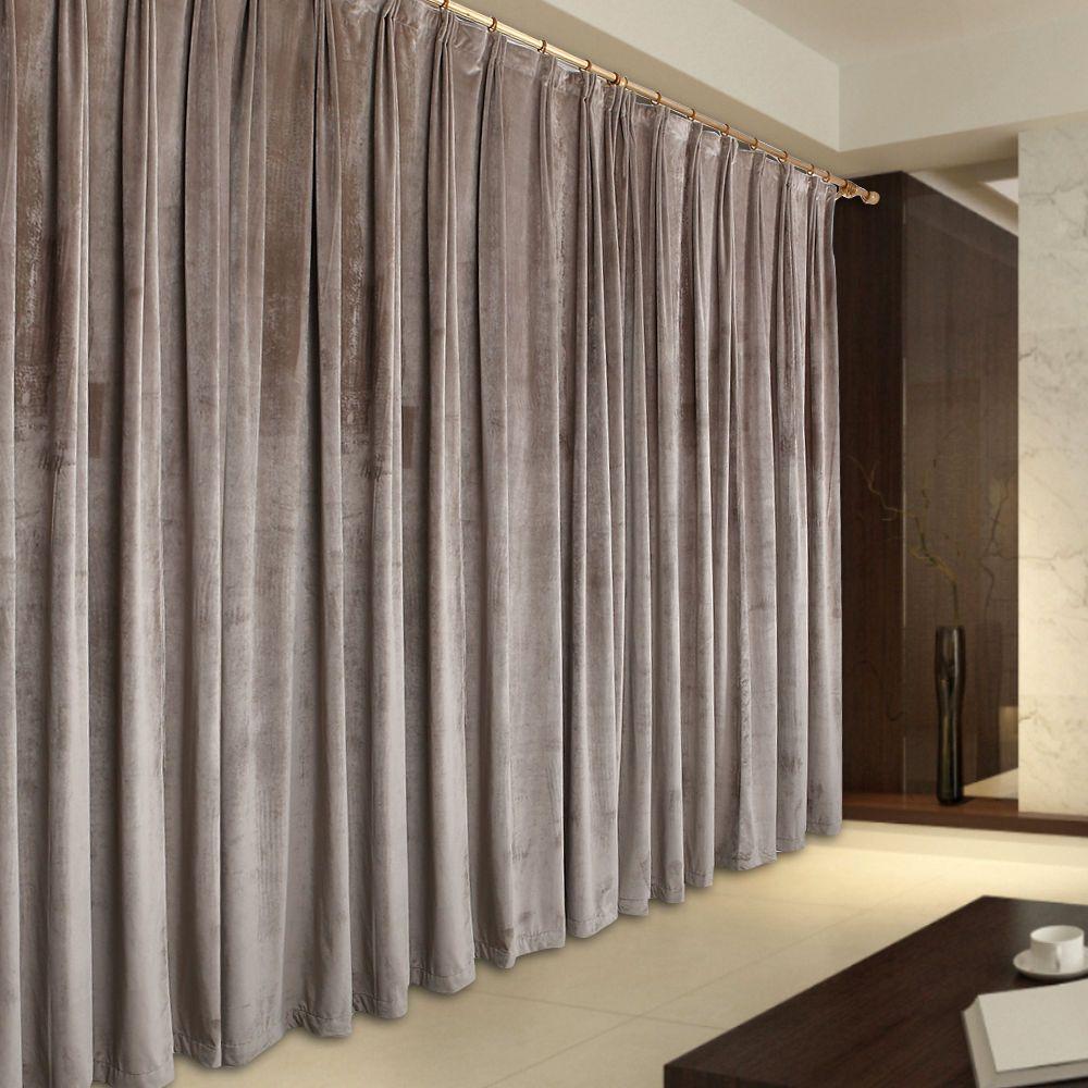 Pair Vintage Style Eyelet Velvet Curtains 2x140cmx213cm DropLight Brown AC198B
