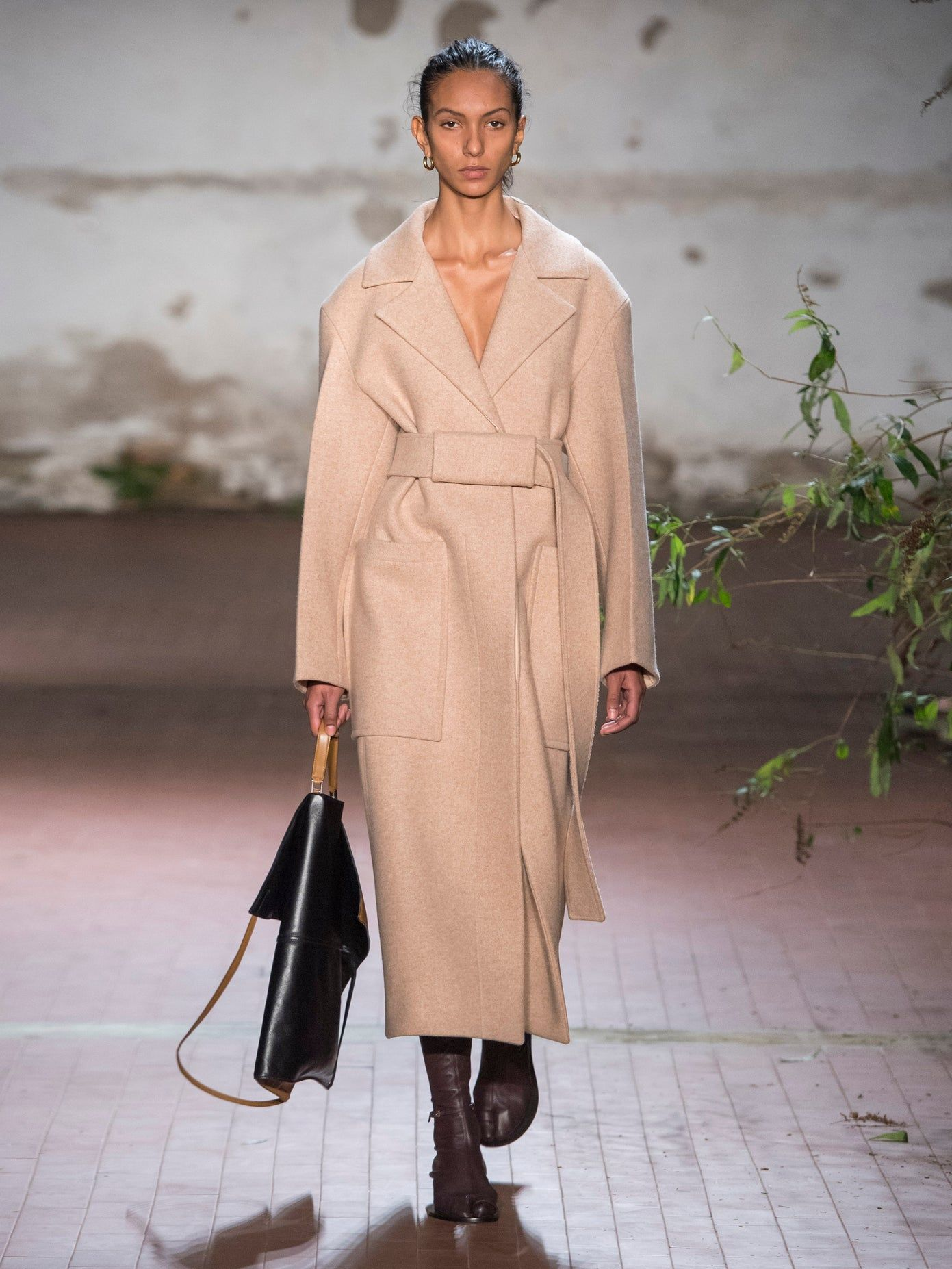 Cappotto monopetto in lana con cintura | Jil Sander | Matches Fashion