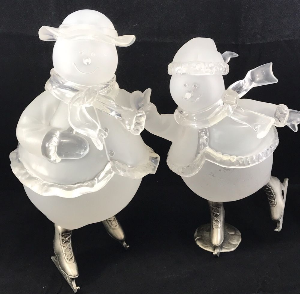 set of 2 frosted glass snowman ice skating figurines collectible