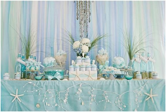 Under the Sea candy buffet; cake table; sweetheart/head table