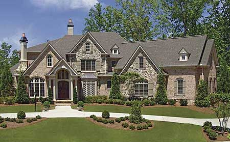 plan 15733ge: 4-bed luxury house plan with angled garage and family