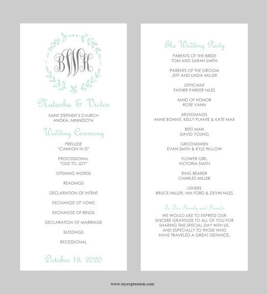 Wedding Program Template – Tea Length - Leaf Monogram (Mint ...