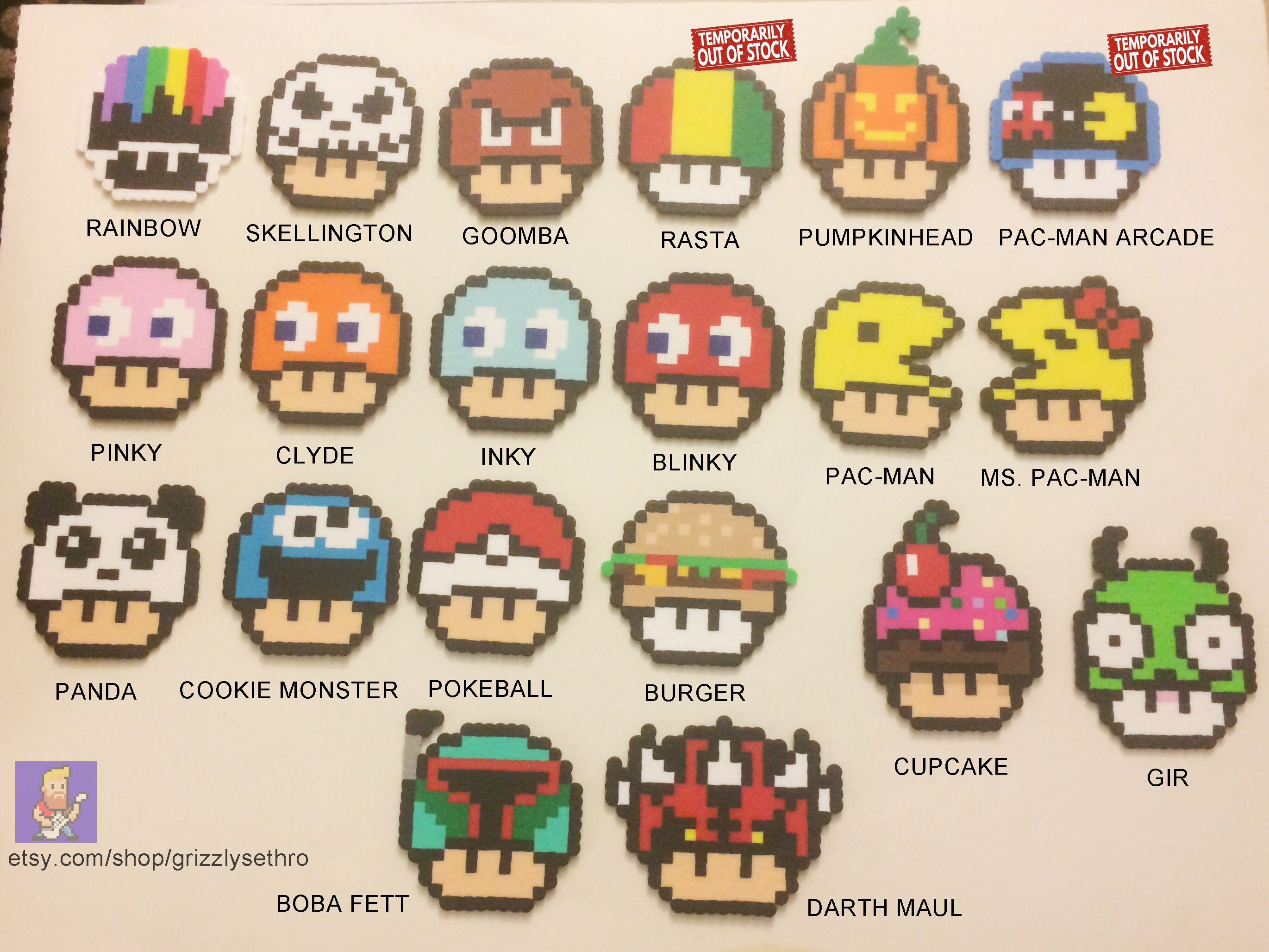 Mushroom Head Mario Pacman Goomba Pokemon Star Wars