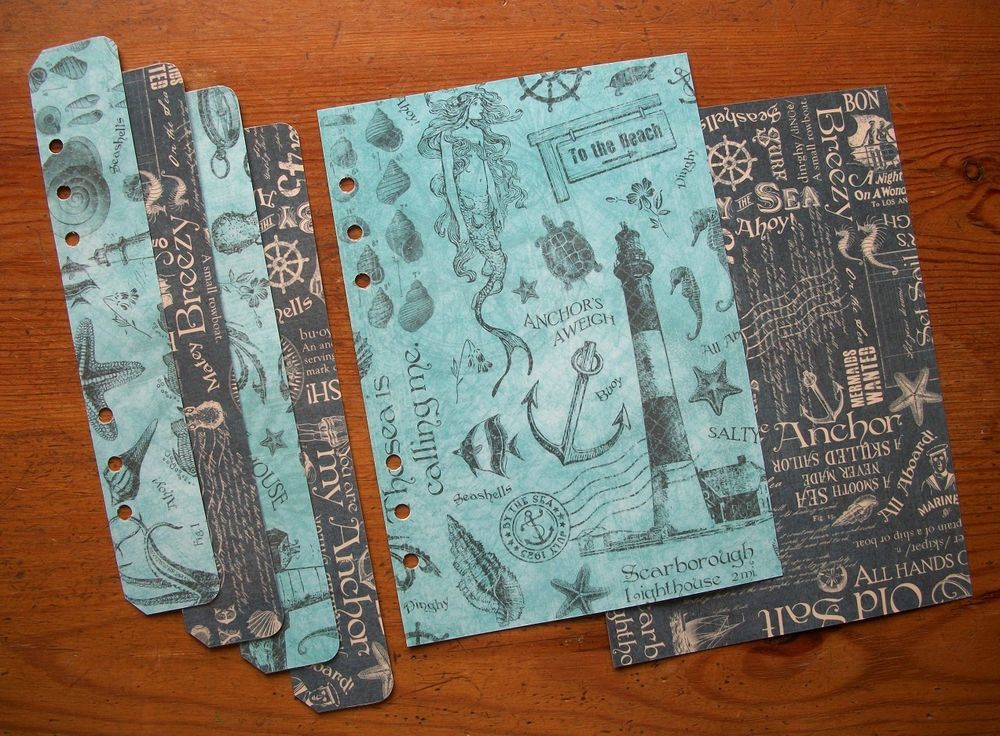 Nautical themed 'By the Sea' A5 Laminated Dashboard & Page Marker set. Fits #filofax #paperchase planners. #mermaids #lighthouse #starfish #seashells