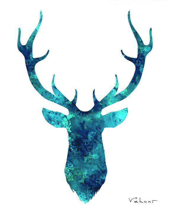 deer head wall art turquoise deer watercolor print aqua. Black Bedroom Furniture Sets. Home Design Ideas