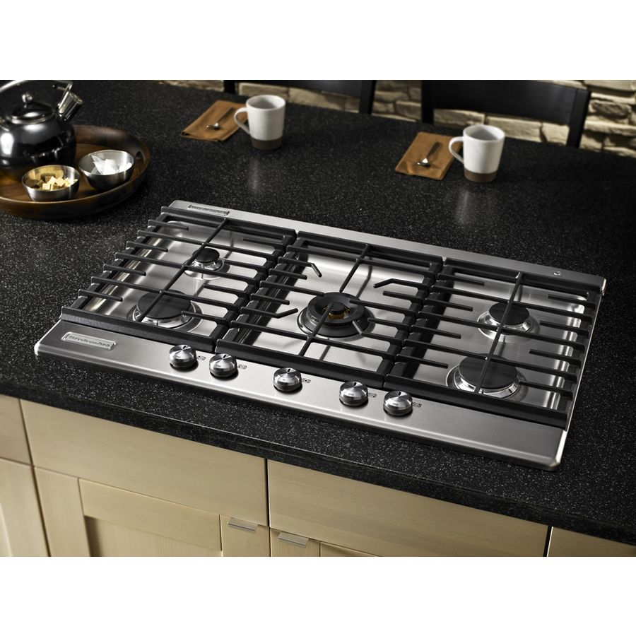 Shop KitchenAid Architect II 36 In 5 Burner Gas Cooktop (Stainless) At