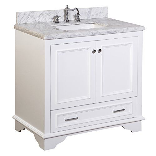 nantucket 36-inch bathroom vanity (carrara/white): includes white