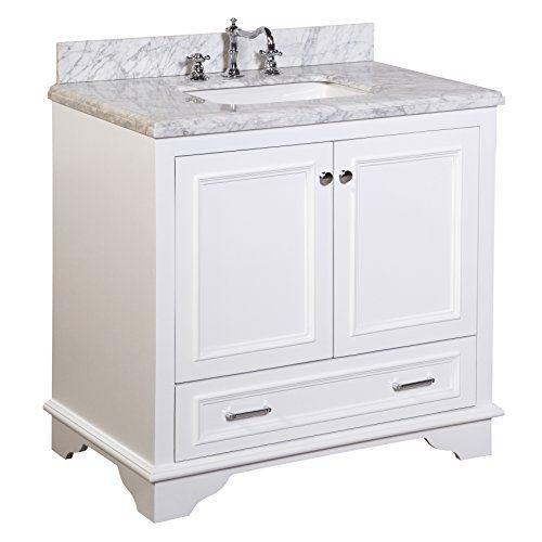 nantucket 36-inch bathroom vanity (carrara/white): includes white