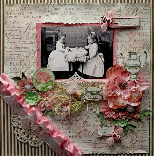 Tea With Friends by reneabouquets March Scraps Of Elegance Kit featuring the Graphic 45 Botanical Tea