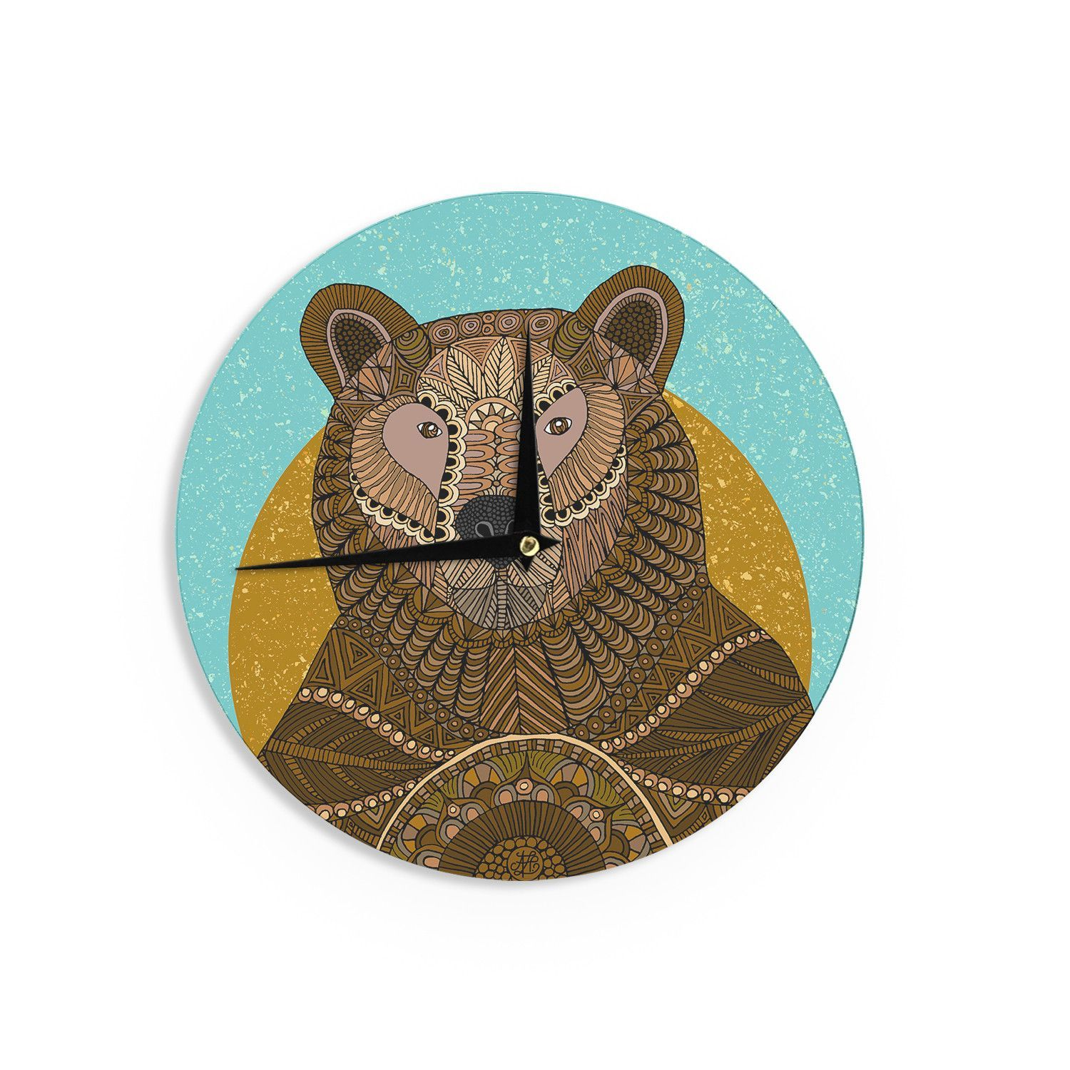 Art Love Passion Bear in Grass Brown Blue Wall Clock Products