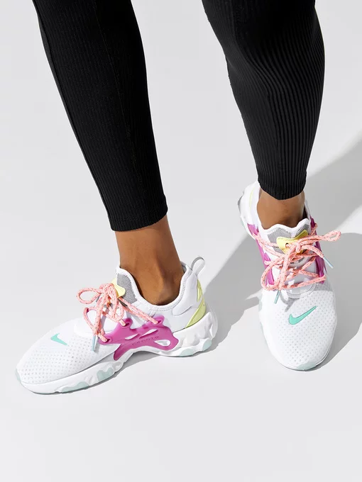 tema Creta ambiente  Women's Nike React Presto in White/hyper Violet Luminous Green Bleached  Coral Light Aqua Psychic Blue | Nike women, Nike women outfits, Nike presto  outfit