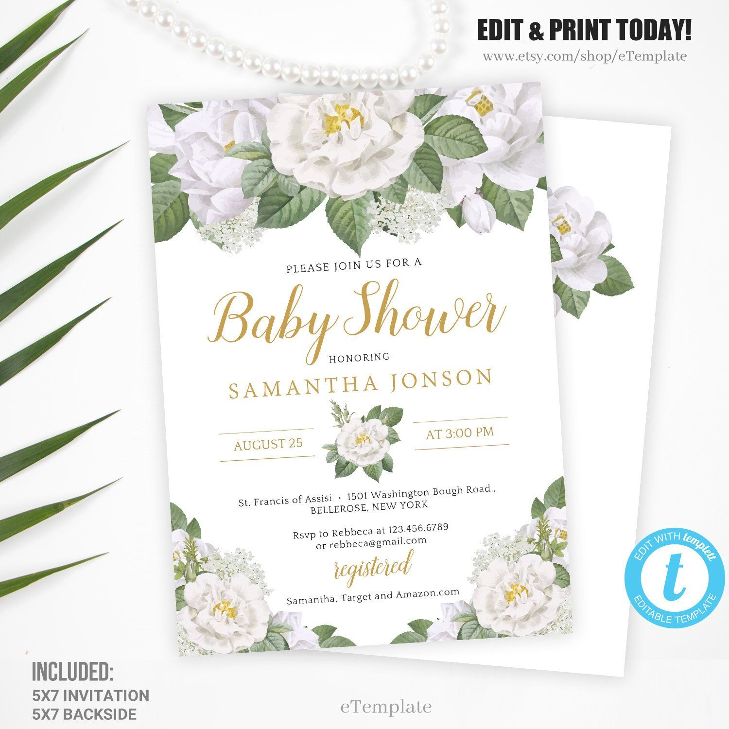 greenery baby shower invitation  editable floral baby shower invite  printable template  green