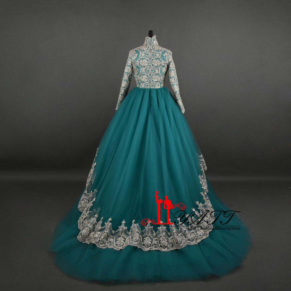 amazing long elegant high neck vintage arabic muslim gold lace