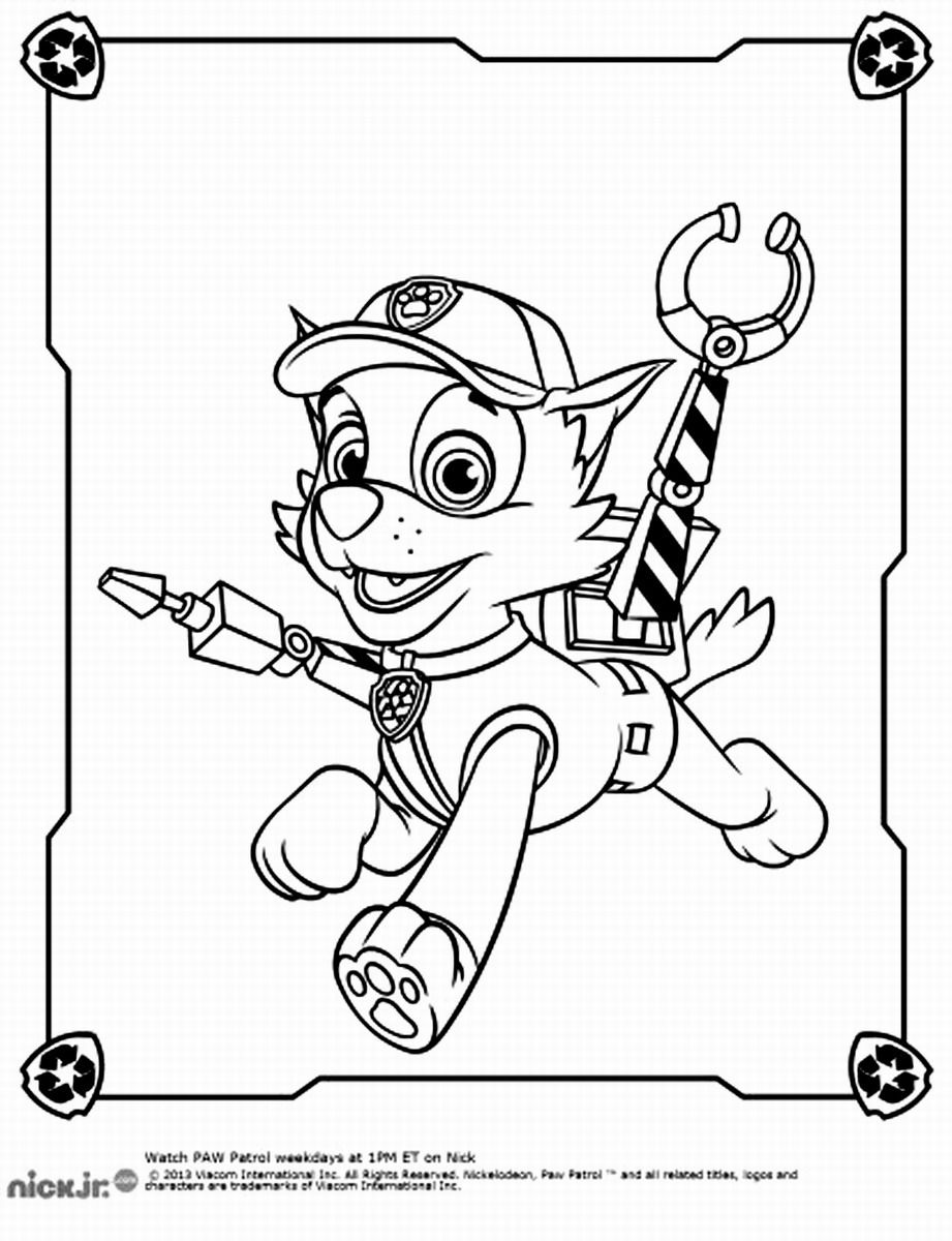 Coloring pages of chase from paw patrol - Rocky Paw Patrol Coloring Pages