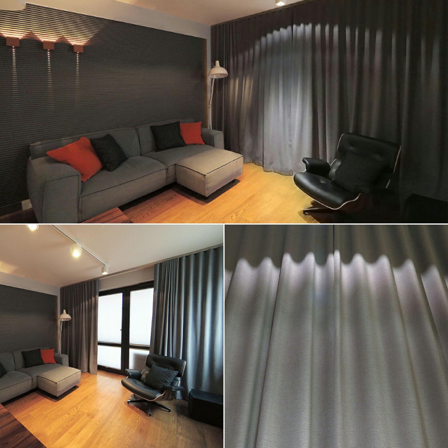 Salon zasłony system wave fafgotex tkanina sofia dekoracje