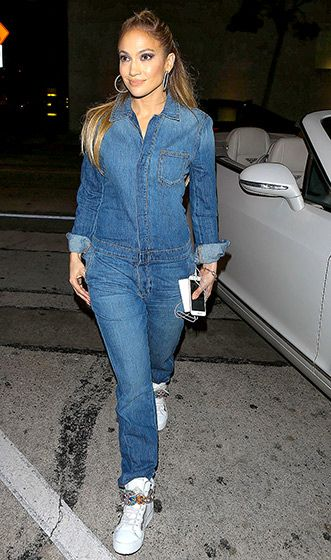 341025e8882 Jennifer Lopez rocked a denim jumper while out and about in L.A. on March  12.