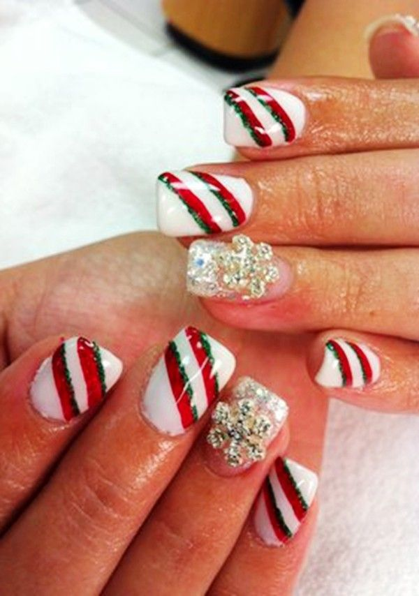 2014 Christmas candy cane nails, Christmas candy cane nails in Simple candy  cane and glitter nail art in 2014 - 2013 Christmas Candy Cane Nails, Christmas Candy Cane Nails In